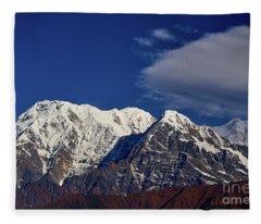 Annapurna South Peak And Pass In The Himalaya Mountains, Annapurna Region, Nepal Fleece Blanket