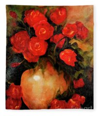Antique Red Roses Fleece Blanket