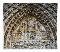Architectural Details Cathedral Notre Dame De Paris France Fleece Blanket