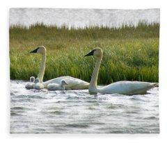 Arctic Tundra Swans And Cygnets Fleece Blanket
