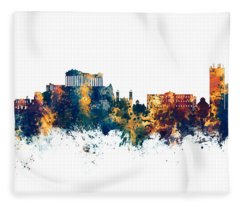 Athens Greece Skyline Fleece Blanket