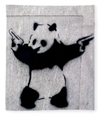 Banksy Panda Fleece Blanket