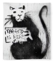 Banksy Rat The End Is Here Fleece Blanket