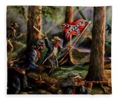 Battle Of Chancellorsville - The Wilderness Fleece Blanket