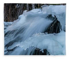 Big Hills Springs Under Snow And Ice, Big Hill Springs Provincia Fleece Blanket