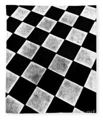 Black And White Floor Tile Fleece Blanket