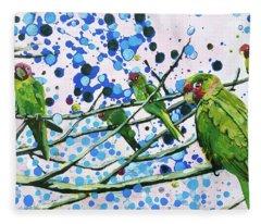 Blue Dot Parakeets Fleece Blanket