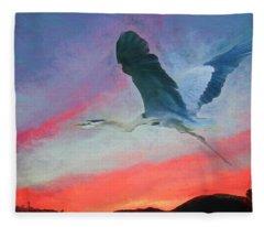 Blue Heron In Flight Fleece Blanket