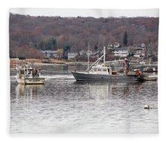Boats At Northport Harbor Fleece Blanket