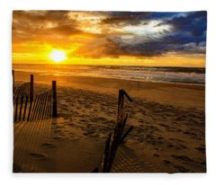 Bogue Banks Sunrise  Fleece Blanket
