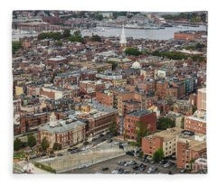 Boston Government Center, North End And Harbor Fleece Blanket