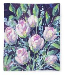 Burst Of Roses Floral Impressionism  Fleece Blanket