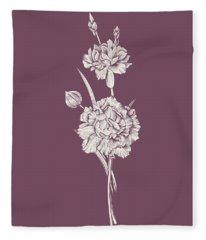 Carnation Purple Flower Fleece Blanket