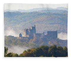 Chateau Beynac In The Mist Fleece Blanket