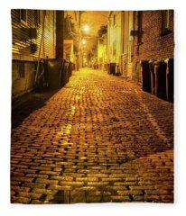 Chicago Alley At Night Fleece Blanket