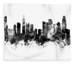 Chicago And Los Angeles Skylines Mashup Fleece Blanket
