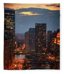 Chicago Sunset Fleece Blanket