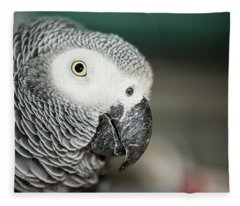 Close Up Of An African Grey Parrot Fleece Blanket