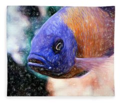 Colored Pencil Red Fin Borleyi Cichlid Fleece Blanket