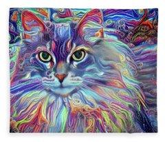 Colorful Long Haired Cat Art Fleece Blanket