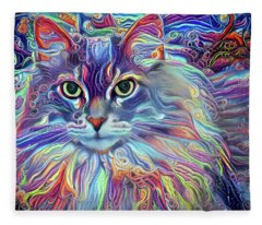Colorful Long Haired Cat Art Fleece Blanket