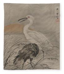 Cranes In Marsh Fleece Blanket