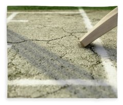 Cricket Pitch Ball And Wickets Fleece Blanket