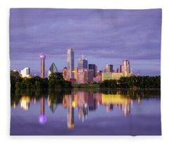 Dallas Texas Cityscape Reflection Fleece Blanket