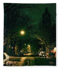 Dark Chicago City Street At Night Fleece Blanket