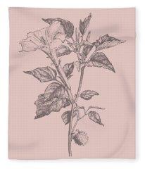 Datura Blush Pink Flower Fleece Blanket