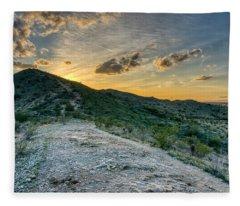 Dramatic Mountain Sunset  Fleece Blanket