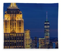 Empire State Building Esb World Trade Center Wtc Nyc Fleece Blanket