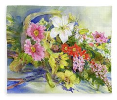 Flower Basket Fleece Blanket