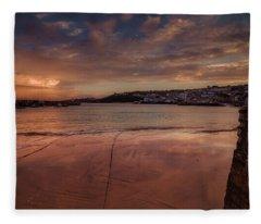 Harbour Sunset - St Ives Cornwall Fleece Blanket