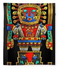 Incan Gods - The Great Creator Viracocha On Black Canvas Fleece Blanket