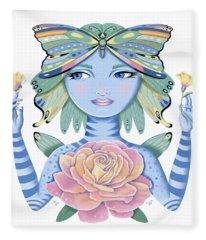 Insect Girl, Winga, With Rose Fleece Blanket