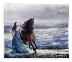 Lady In Blue Fleece Blanket