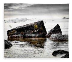 Lake Hurons Rocky Shore Fleece Blanket