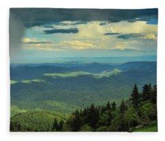 Looking Over The Valley Fleece Blanket
