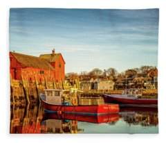 Low Tide And Lobster Boats At Motif #1 Fleece Blanket