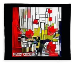 Merry Christmas Red Fleece Blanket
