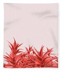 Minimal Contemporary Creative Design With Aloe Plant In Coral Co Fleece Blanket