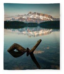 Mount Rundle And Two Jack Lake Fleece Blanket