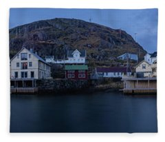 Norwegian Seaside Town Nyksund Fleece Blanket