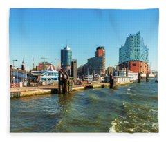 Panoramic View Of Hamburg. Fleece Blanket