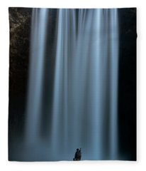 Amongst Giants Skogafoss Iceland Fleece Blanket