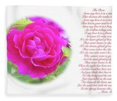 Pink Rose And Song Lyrics Fleece Blanket