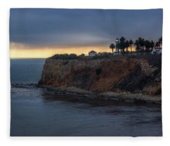 Point Vicente Lighthouse At Sunset Fleece Blanket