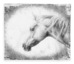 Portrait Of A Wild Horse Fleece Blanket