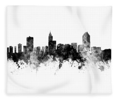 Raleigh North Carolina Skyline Panoramic Fleece Blanket